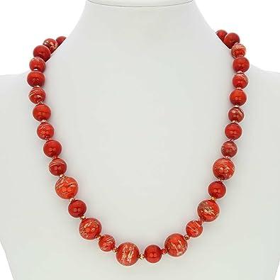 345097f63278 glassofvenice cristal de Murano collar de - color rojo  Amazon.es  Joyería