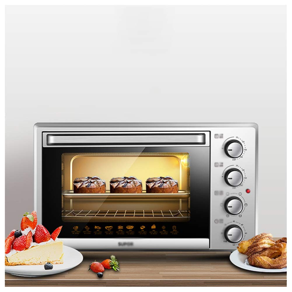JDGK Ovens-Mini Oven Electric Grill Enough For Table Top Use-1500W (silver) Fast Heating Toaster Ovens With Timer Rack-Small -mini Ovens