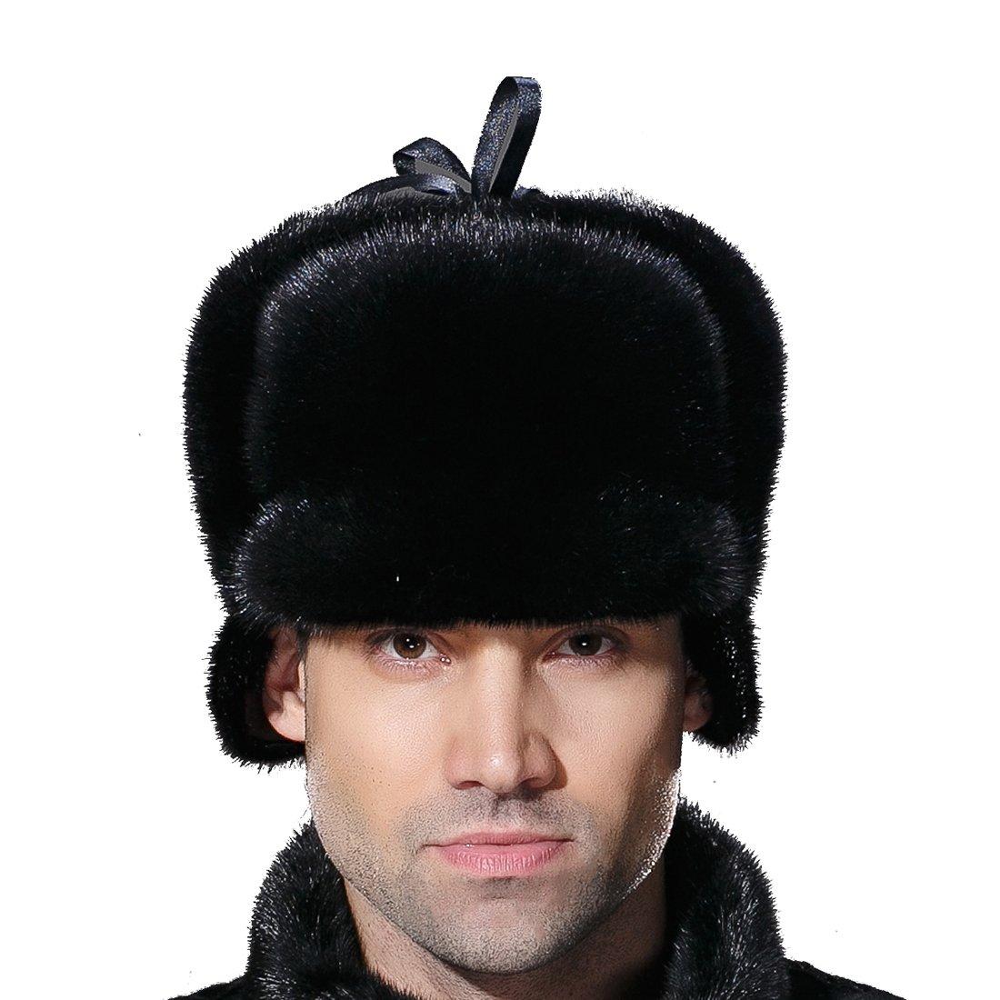 URSFUR Winter Men Fur Captain Hats Real Mink Fur Hunting Cap Black M
