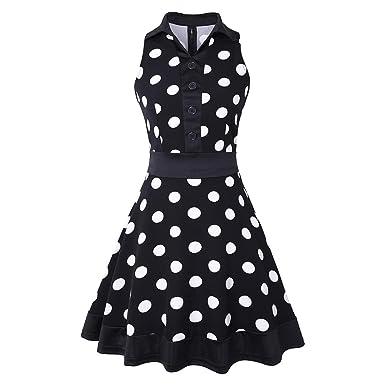 Ez-sofei Women's Vintage 1950s Sleeveless Dots Party Swing
