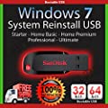 Windows 7 32 and 64 bit USB SP1 Re Install Repair All Editions Starter 32-bit Home Basic 32/64 bit Home Premium 32 and 64 bit Professional 32 and 64 bit Ultimate 32 and 64 bit Free Phone Tech Support