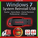 Windows 7 32 and 64 bit USB SP1 Re Install Repair All Editions Starter 32-bit Home Basic 32/64 bit Home Premium 32 and 64 bit Professional 32 and 64 bit Ultimate 32 and 64 bit Free Phone Tech Support фото