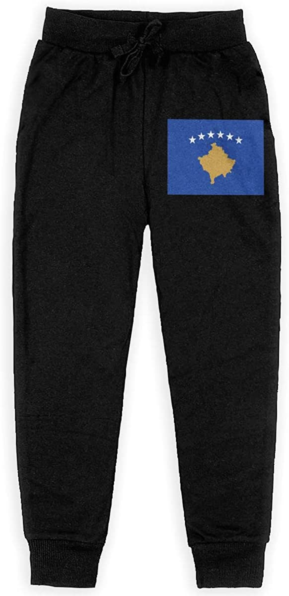 Qinf Boys Sweatpants Flag of Kosovo Joggers Sport Training Pants Trousers Cotton Sweatpants for Youth