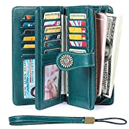 Elegant 24 20 cc Slots Womens RFID Wallets Large Capacity Leather Long Trifold Clutch Purse