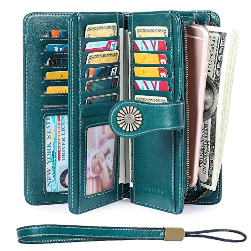 Elegant 24 Slots Womens RFID Wallets Large Capacity Leather Long Trifold Clutch Purse (Camo Wallet Clutch)