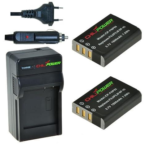 Chili Power NP de 95, NP95 Kit: 2 x Batería + Cargador para Fujifilm FinePix X100S, X100, F30, X-S1, F31fd, Real 3D W1, BC de 65