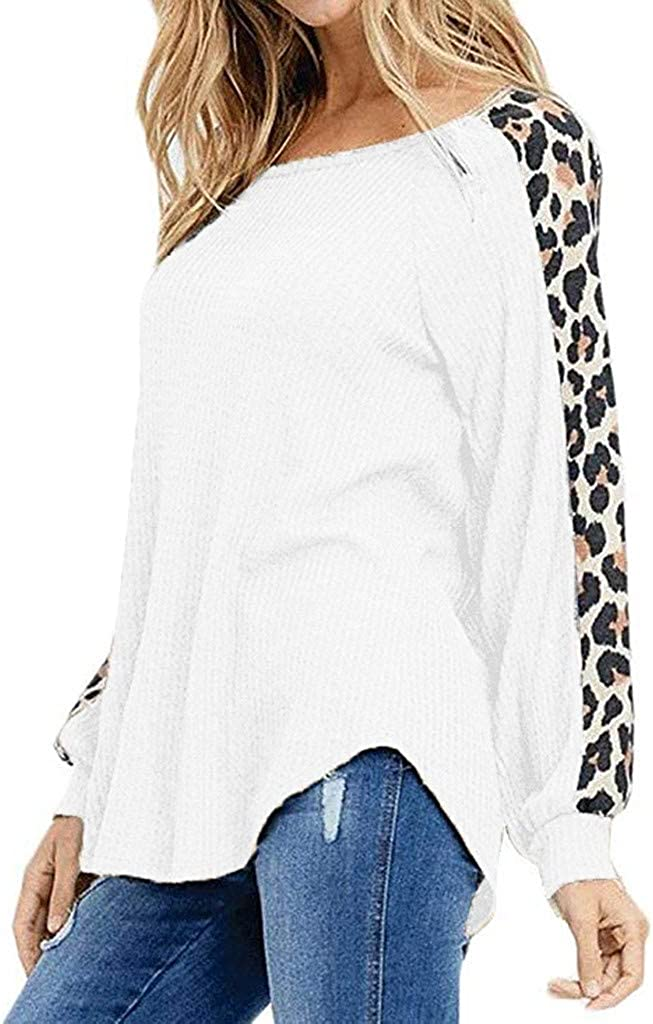 Hotkey Women Casual O-Neck Leopard Patchwork T-Shirt Pullover Sweatshirt Long Sleeve Tees Tops Fashion Ladies Blouse