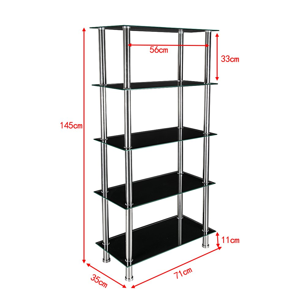 Glass Shelving Unit Bookcase 5 Tier with Chrome Legs Table Shelf Rack For  Living Room Furniture (Black)