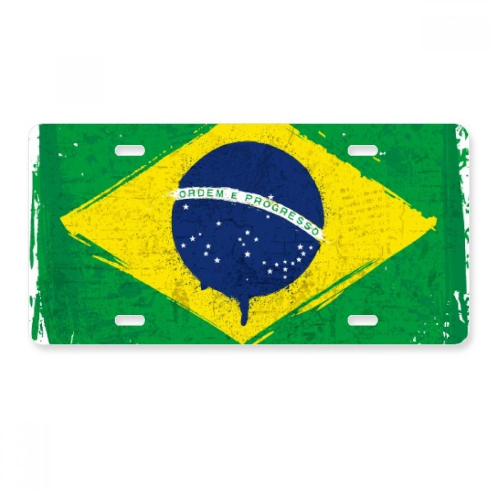 Hand-painted Brazil Flag Brazil License Plate Car Decoration Stainless Steel Accessory SeeParts