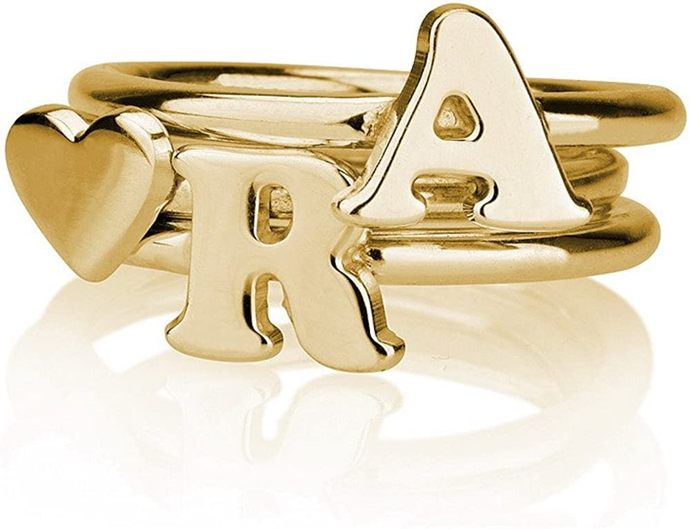 gold or silver plated handmade Initial rings