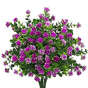 Artificial Flowers, Fake Outdoor UV Resistant Plants Faux Plastic Greenery Shrubs Indoor Outside Hanging Planter Home Kitchen Office Wedding Garden Decor (Magenta) 52