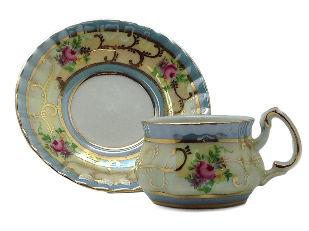 Victorian Mini Tea Set Gold Cup & Saucer Essence of Europe Gifts E.H.G J4556