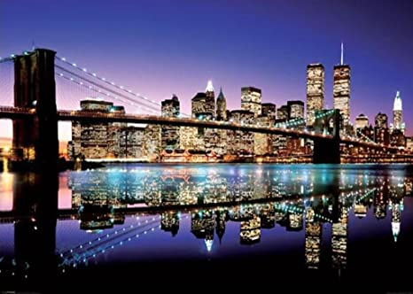 Póster de tamaño gigante New York Skyline Brooklyn Bridge por la noche (140cm x 100cm