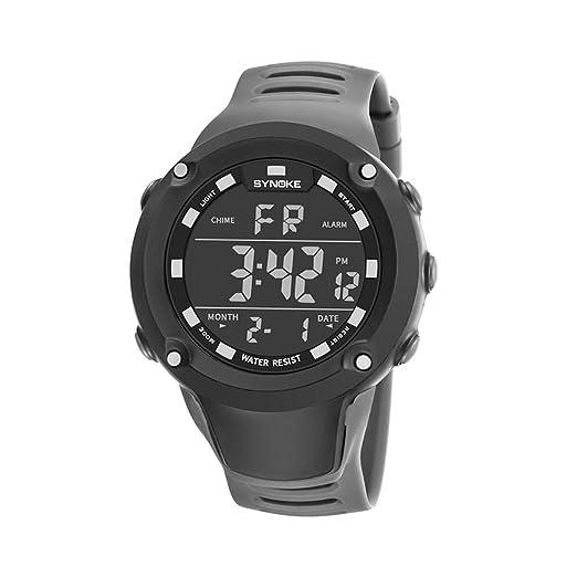 LONGQI WATCH - Reloj digital LED para hombre clásico a prueba de golpes al aire libre