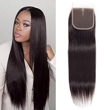 2be3361b46c Gabrielle 8 Inch Closure Human Hair Straight Hair Brazilian Middle Part 4x4  Lace Closure 100%