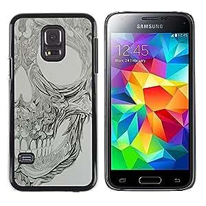 TopCaseStore / la caja del caucho duro de la cubierta de protección de la piel - Grey Floral Pattern Metal Rock - Samsung Galaxy S5 Mini, SM-G800, NOT S5 REGULAR!