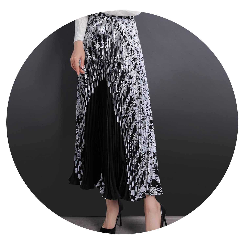Black with white Summer Women Floral Skirt Long Pleated SkirtsMidi Women Long Skirt