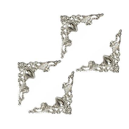VORCOOL 48pz Angoli per Decorazioni Scatole in Legno Paraspigoli Protezione  Angoli e Bordi Libro Album Decorative Metallo Vintage Antico Copertura  Bianco