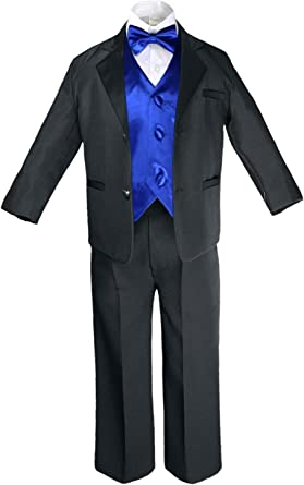 Gino Giovanni Brand Boys 5 Piece Deluxe Black Tuxedo Suit Toddler Sizes Toddler 3T