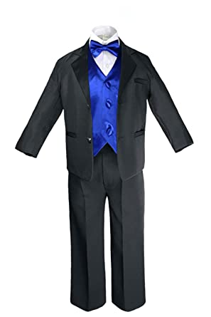 Amazon.com: Unotux 7pc Formal Boy Black Royal Blue Suit Tuxedo Bow ...