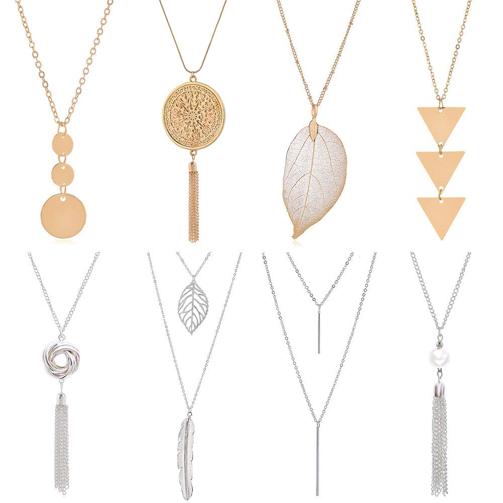 YWLI 8 PCS Long Necklaces for Women - Fashion Pendant Necklace Jewelry Multi Layer Necklace Tassel Necklace Leaf Necklace Y Necklace Gifts for Women