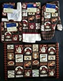 The Pecan Man Dining Linen Coffee Break Theme Everyday Decor Kitchen Set of 7, 1 OVEN MITT & 2 Pot Holders & 2 Dish Cloths & 1 Kitchen Towel & 1 Placemat