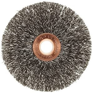 "Weiler Copper Center Wire Wheel Brush, Round Hole, Steel, Crimped Wire, 3"" Diameter, 0.0118"" Wire Diameter, 1/2-3/8"" Arbor, 1"" Bristle Length, 5/8"" Brush Face Width, 20000 rpm"
