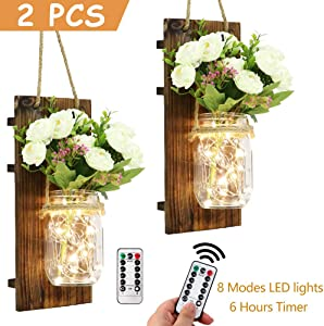 AerWo 2Pcs Mason Jar Sconces Wall Decor, Handmade Rustic wall Sconces with LED Fairy Lights and Flowers, Hanging Mason Jar for Farmhouse Kitchen Decorations Wall Decor Living Room Lights