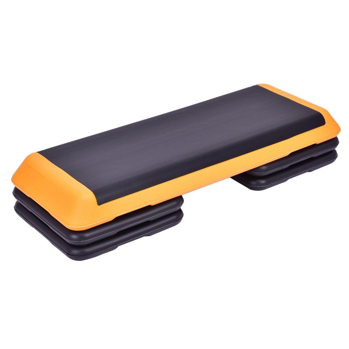 Goplus 43'' Adjustable Fitness Aerobic Step Stepper Platform 4'' - 6'' - 8'' Non-Stick Surface W/Risers (Orange)
