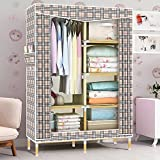 HHAiNi Portable Wooden Wardrobe Rack with Shelves, Heavy Duty Double Closet Armoire for Bedroom