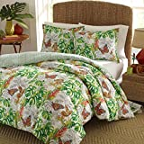 D.I.D. 2 Piece Green White Tropical Theme Duvet Cover Twin Set, Yellow Orange Palm Tree Leafs Butterflies Flower Pattern Coastal Nautical Garden Floral Graphic Nature PIneapple Geometric, Polyester