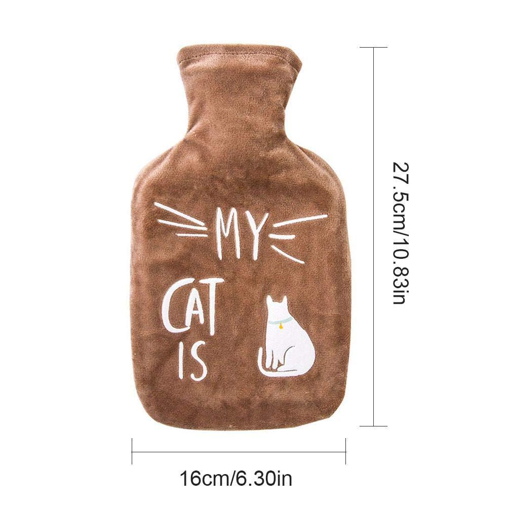 Zaote Borsa dell Acqua Calda con Copertura in Pile Morbida Gomma Bottiglia per alleviare la Tensione e Sollievo dal Dolore di Stomaco Nero