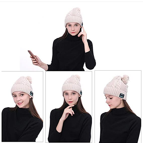 Gorro Bluetooth - Sombrero Musica Pompom Style Bluetooth de punto ...