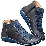 POLP Botas,Mujer Botines de Cuero Otoño Invierno Vintage Botines Mujer con Cordones Zapatos de Mujer Botas Cómodas de…