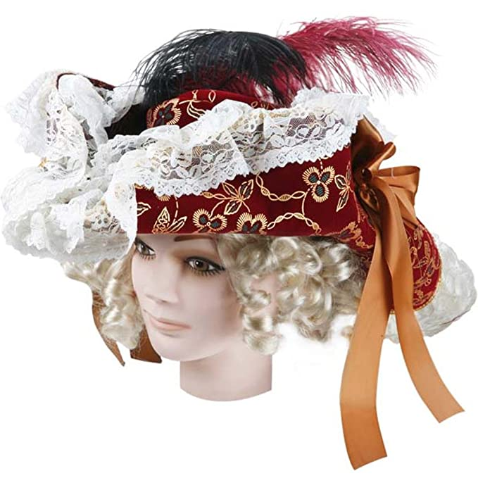 Adult's Lacey Wine Lady Pirate Hat Costume Accessory Embellished with Gold Embroider, Trimmed with White Lace, Copper Satin Ribbon Bow, and Black & Wine Feathers by Charades