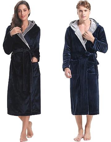Aibrou Peignoir Femme Velours Robe de Chambre Polaire Chaud Long Flanelle  Peignoir de Bain Homme Eponge 3f79cb984e62