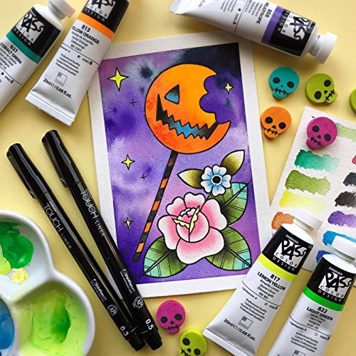 Horror Trick or Treat Lolly Halloween Watercolor Tattoo