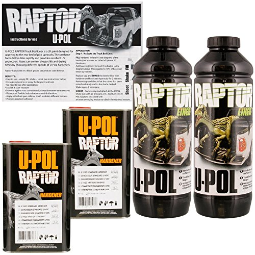 U-POL Raptor Black Urethane Spray-On Truck Bed Liner & Texture Coating, 2 Liters (Best Truck Bed Liner Kit)