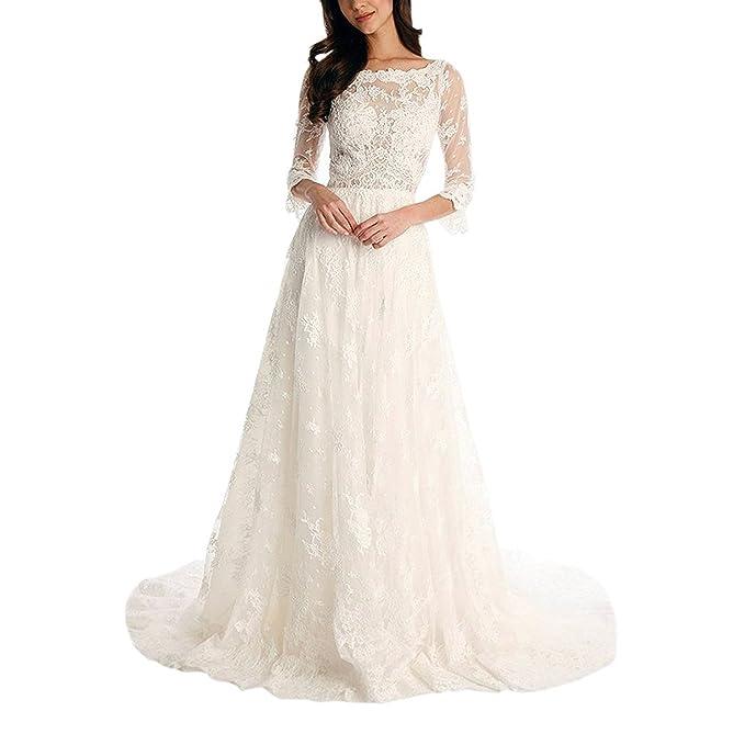 VIPbridal Vestido de novia de encaje Long Beach vestidos de novia con mangas: Amazon.es: Ropa y accesorios