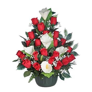 Favori Ligne Déco 481305WO - Fiori artificiali per cimitero, vaso con  EQ84