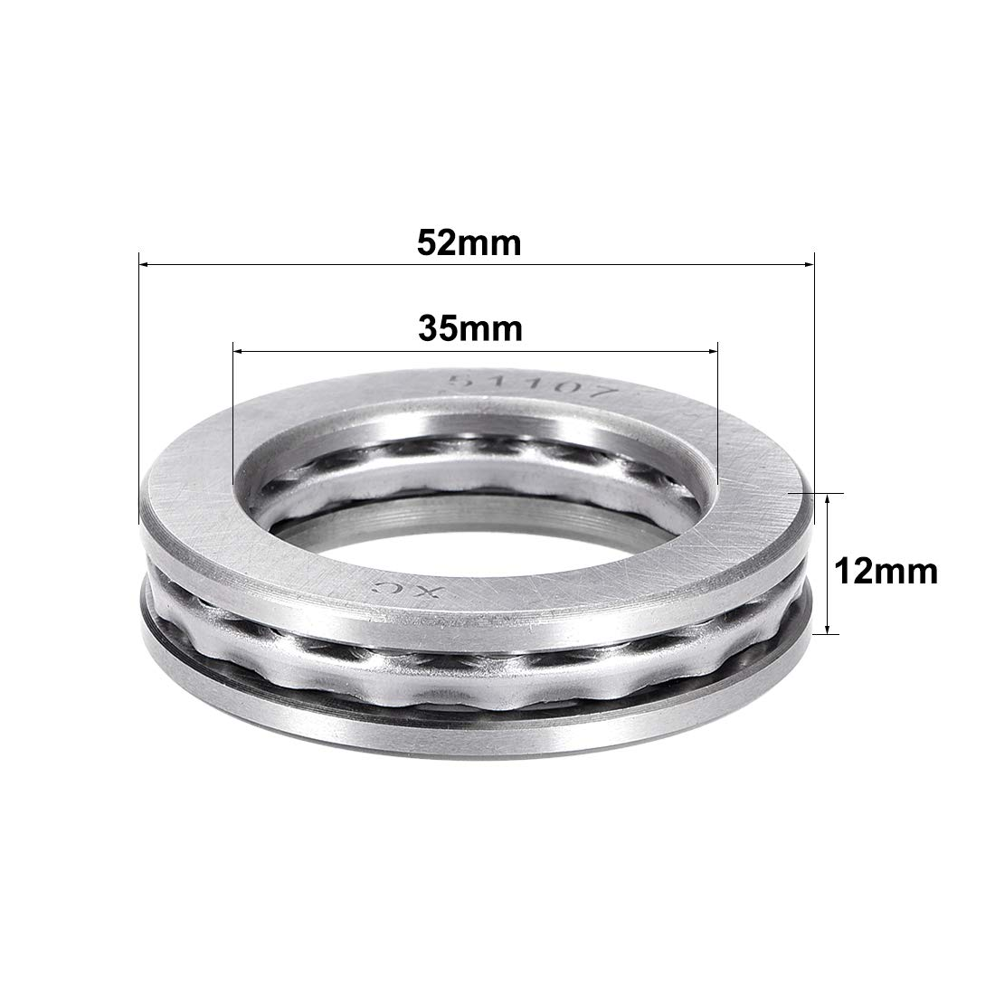 uxcell 51107 Single Direction Thrust Ball Bearings Flat Seat Chromium Steel,35x52x12mm 1pcs