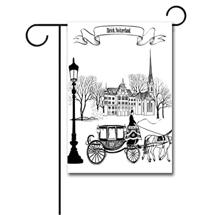 Wondertify Garden Flags Sketchy Old Street Scene Carriage Horse From Twenties Historical Northern Europe Double Sided