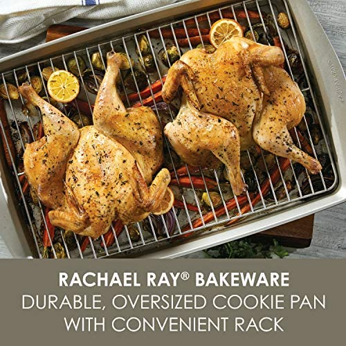 Rachael Ray Nonstick Bakeware Set without Grips includes Nonstick Bread Pan, Baking Pans, Cake Pans, Cookie Sheet / Baking Sheet - 10 Piece, Silver