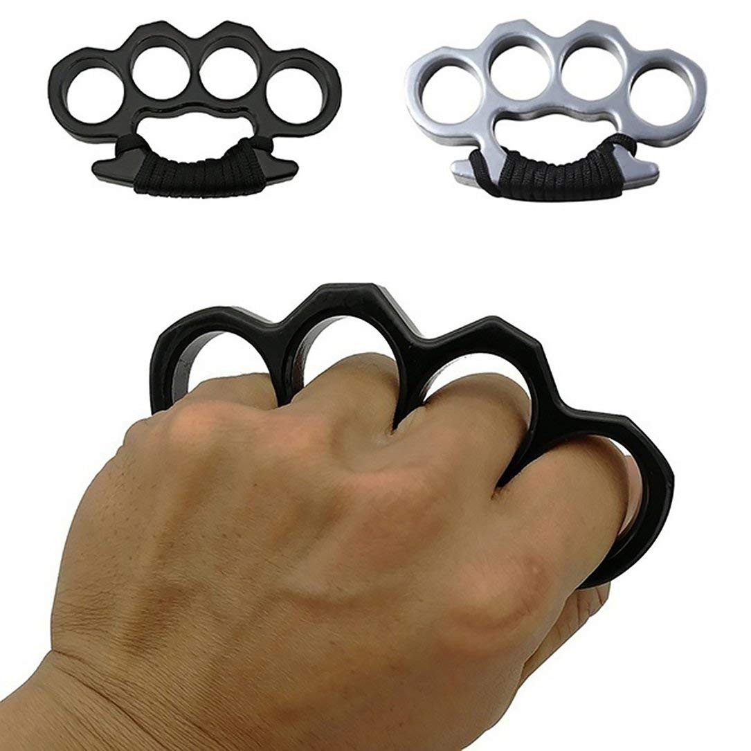 Arma de autodefensa de Cuatro Dedos del Tigre de Dedo de Defensa Fuerte y Potente (Negro)