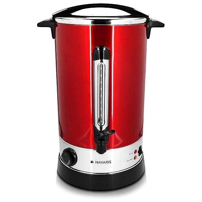 Navaris Hervidor de agua eléctrico de 6.8L con grifo - Dispensador de bebidas calientes con termostato - Olla eléctrica para té café y vino - rojo