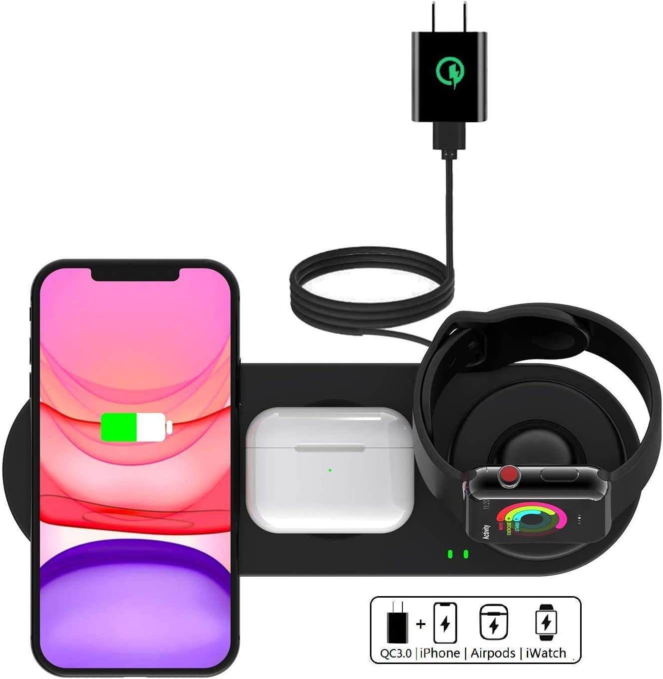 Kartice Wireless Charger 3 in 1 Compatible with Apple Wireless Charger Watch SE 6 5 4 3 2 1 Charger Mat for iPhone 12/12 mini/11/Pro/X/Xs/Airpods Pro Wireless Charger Stand Charging Pad Dock Station