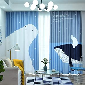 Printed Fabric Curtains, Semi Blackout Window Curtain with Hooks Drapes Nordic Country Style Panel for Living Room Bedroom-H 300x270cm(118x106inch)