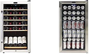 Whynter FWC-341TS 34 Bottle Freestanding Wine Refrigerator with Display Shelf and Digital Control, Stainless Steel & BR-130SB Beverage Refrigerator with Internal Fan 120 Can Capacity – Stainless Steel