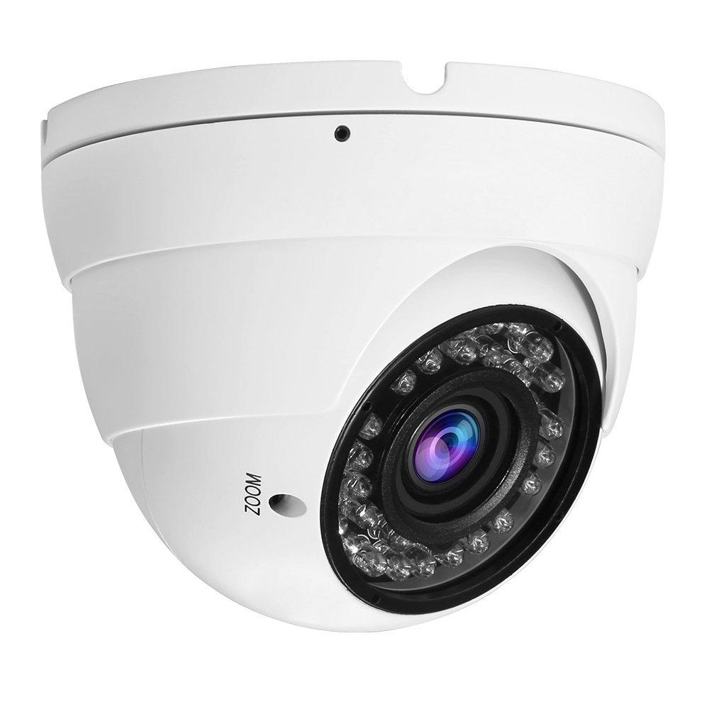 Hykamic Analog CCTV Camera HD 1080P 4-in-1 (TVI/AHD/CVI/CVBS) Security Dome Camera, 2.8mm-12mm Varifocal Lens, True Day & Night Monitoring IP66 (White)