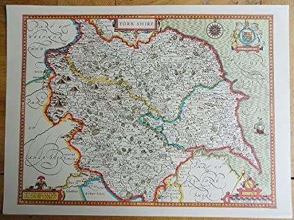 The Map Shop London.Old Copy Of John Speed Map Of Yorkshire 1610 Amazon Co Uk Kitchen